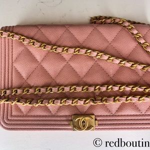 CHANEL Bags - Chanel Boy Wallet on Chain Pink grained calfskin